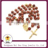 Religious 8mm Gemstones Rosary Crucifix Cross Statue 18K Gold Color Stainless Steel Necklace Jewelry Crucifix Of Jesus Necklaces