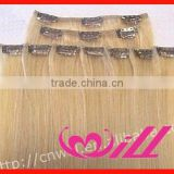 Brazilian Hair Wholesale White Hair Clip In Hair Extension Grade AAA Color Blonde Human Hair Remy Clip In Hair Extensions