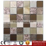 IMARK Flower Pattern Mosaic With Gold Foil Glass Mosaic Mix Painting Glass Mosaic Tile Mix Marble Mosaic Tile