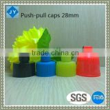 28mm neck high quality pp push-pull caps for sport bottle/ cleanser/ shampoo/ toiletries/olive oil/ essential oil