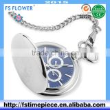 FS FLOWER - Good High Quality Pocket Watch Bule Dial Stainless Steel Necklace