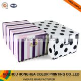 Paper Storage Box Folding Stripes Drawer Gift Box with Metal Pull Ring