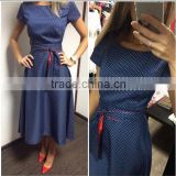 2016 new summer vintage blue dot women dresses DME-6045