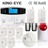 New upgrade!LCD display time clock 7 wired zone 433mhz wireless alarm with vibration sensor