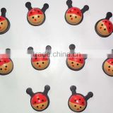 Wooden cute baby head fridge magnet lovely ladybird sticker for promotion handmade ladybug decoration in home