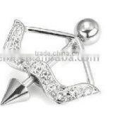 fashion nipple ring, 316L steel nipple rings body piercing jewelry