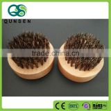 Mini pocket wooden round boar bristle beard brush