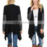 Stylish Girls Ladies Women Fashion 95% Rayon 5% Spandex Black Open Cardigan with Long Sleeve Cardigan Sweaters Wholesale