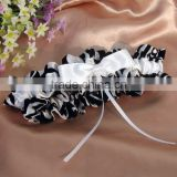 2015 Black and white flocking garter,bridal wedding garters,comfortable fabric garter belt