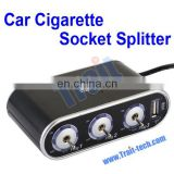 WF-0306 Black Triple Ports Car Cigarette Socket Splitter And DC 5V USB With On/Off Switch