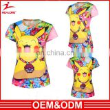 Custom Design 100% Polyester T Shirt Digital Printing 3d Pattern Animal Tee Shirt Sublimation For Women