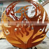 Weathering steel modern hollow steel fire hemisphere in metal