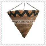 large unique outdoor woven cone hanging baskets with plastic film lined