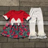 beautiful girls flowers priting bowknot dress clothes and white lace ruffle pants outfits