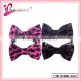 Environmental soft velvet fabric handmade girl hair bow leopard clips wholesale (XH12-1843)
