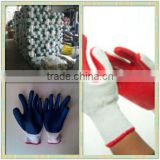 Red polyester Linining Black Nitrile Sandy Dipped Factory Glove Nitrile Coated Cotton Work Gloves