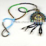 Hot selling bohemian colorful stones beads collar/bohemian pendant applique for garment accessories