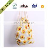 Beautiful flower pattern drawstring mesh bag backpack bag for girls