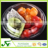 Portable disposable clear plastic clamshell salad bowl