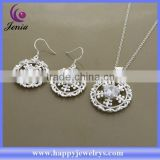 Beautiful round earring ,pendant set 925 silver plated hot selling cheap jewelry set (AT559)