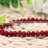 Solid Dark Red 2mm to 12mm AAA Quality Wholesales Price Loose Jade Crystal Facted Roundelles Glass Beads for Jewelry Cheapest