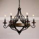 vintage style industrial candle lamp with wooden 6 lights for home decor china supplier