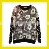 2016 Fashion Products Bros Baby Lion Dollar Notes Pattern Printed White Dotted Long Sleeve Black Sweater