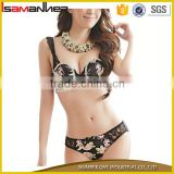 Last fashion wholesale lace printing fancy sex new style bra and panty