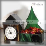 MX70001 tiffany style stained glass house shape with wind mill clock for table stand home decoration wholesale