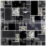 2016 elegant decoration black glass mix stone mosaic tile for wall                                                                                                         Supplier's Choice
