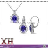 Sterling Silver Cubic Zirconia Blue and White Sapphire Jewelry Set Wholesale