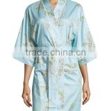 Wholesale Cheap Sexy Light Blue Elegant Short Women Warm Printed Woven High Density Cotton Robe