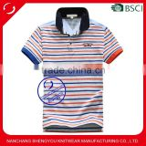 Custom yarn-dyed cotton fabric adults short sleeve striped polo t shirt