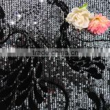 embroidery 3mm shiny sequins polyester spandex fabric velvet softtextile baby girls dresses velvet/velvet fabric