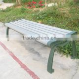 Metal leg garden bench with plastic wood public bench seating