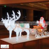 Reindeer with sleigh led christmas lights outdoor decoration santa claus sleigh reindeer nice christmas fur reindeer decorations