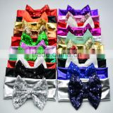 Beautiful Fancy Baby Knit Headbands with Bows - glitter sequin bow with shiny elastic hairbands