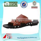 china factroy rubber pu leather slipper , summer beach sandal slipper , fashion leather men slipper