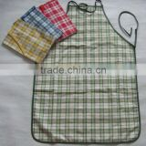 new design bib customed cotton/polyester plain colour yarn dyed check gingham apron kitchen set