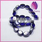 Bead silver-plated glass cobalt blue 13x10mm flat oval