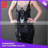 Newly design leather sequins adorned women sexy bare back evening dress