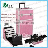 aluminum rolling makeup case trolley cosmetic train case with drawer