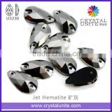 Jet Hematite Machine Cut Sew-on Stone U3230 for Shoes