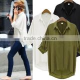 Amazon Hot Spring New Fashion European Style Long Sleeve Lapel Clothes Women Loose Chiffon Blouse