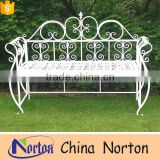 Pop pure white wrought iron lawn Scroll design bench NTIRH-004Y