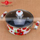 2016 high quality wholesale non-stick enamel cast iron turkish cooking pot with glass lid
