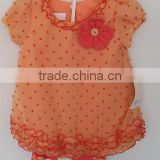 2016 beautiful baby girl orange color flowers embroidered dress with knit pants 2 for summer