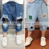 S16961A 2017 children cotton denim trousers kids solid pants