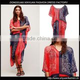 Women Plus Size Beach Bohemian Printed Dress India Ladies Chiffon Boho Loose Maxi Dresses