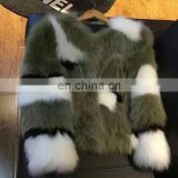 Round collar tea green color fox fur coat, blue fox red fox silver fox fur mixed fashion short size coat S M L